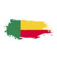 grunge brush stroke with benin national flag vector image vector image