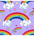 Hand drawn cartoon rainbow clouds and falling vector image vector image