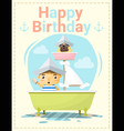 Happy birthday card with little boy and friend 2 vector image vector image