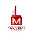 initial letter m logo template colored red silver vector image vector image