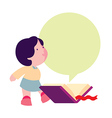 little girl reading a book vector image