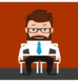 Lucky businessman is sitting on two chairs vector image vector image