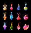 magic potions fantasy elixirs in glass bottles vector image