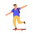 man on skateboard cartoon boy riding board young vector image