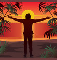 man stands at sunset with open arms outstretched vector image vector image