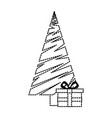 merry christmas tree with gifts vector image