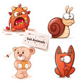 monster snail bear cat - cartoon characters vector image