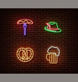 neon hat sausagebake beer signs isolated vector image vector image