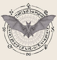 occult banner with hand-drawn bat with open wings vector image