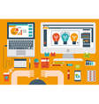 office desk flat design concept vector image