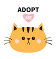 orange cat round face silhouette adopt me pink vector image vector image
