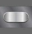 oval brushed metal plate on perforated texture vector image vector image