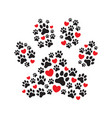 paw print filled with prints and hearts vector image vector image