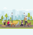 people with their pets in the park vector image