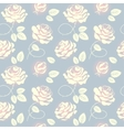 Pink roses on blue background seamless pattern vector image vector image