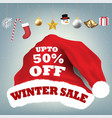 santa claus hat with winter sale 50 percent vector image vector image
