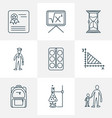school icons line style set with geometry vector image