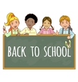 Schoolgirls and schoolboys at the blackboard vector image