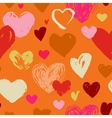 Seamless red hand drawn doodle pattern with hearts vector image vector image