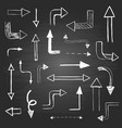 set hand drawn arrows different shapes vector image