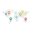 set of colored map pointers with world map vector image vector image