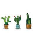 set of three hand drawn cactus in pots vector image