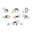 set with cute cartoon cow farm animals vector image vector image
