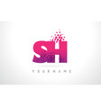 sh s h letter logo with pink purple color and vector image vector image