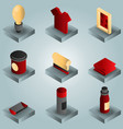 silk-skreen color gradient isometric icons vector image vector image