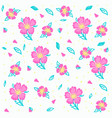 sketch pink flowers and leaves vector image vector image