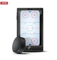 Smartphone with ice hockey puck and field on the vector image vector image