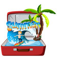 summer object in suitcase vector image