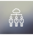 Three businessmen under the cloud thin line icon vector image