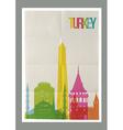Travel Turkey landmarks vintage paper poster vector image