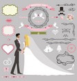 wedding invitation decor setbride and groom vector image vector image