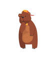 wild bear with pensive face expression cartoon vector image vector image