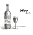 Wine and glass sketch vector image vector image