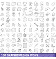 100 graphic design icons set outline style vector image vector image