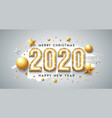 2020 happy new year and merry christmas message vector image