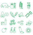 allergy and allergens green outline icons set vector image vector image