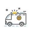 ambulance emergency car icon flat and thin line vector image vector image