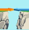 arrows forming bridge over rocky abyss vector image vector image