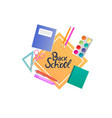 back to school banner notebooks paints pencils vector image