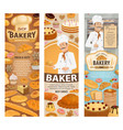 bakery baker cafe and pastry shop vector image vector image