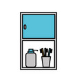 bathroom cabinet with bottle soap and toothbrush vector image vector image