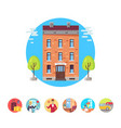 best hotel isolated in circles set vector image vector image