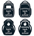 black and white collection of school backpack vector image vector image