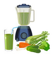blender and glass of smoothie made of organic vector image vector image