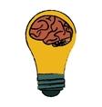 brain idea bulb concept sketch vector image vector image