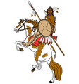 brave on horse logo mascot vector image vector image